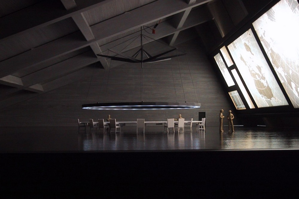 Ausstellungsmodell, das den Warroom aus Stanley Kubrick's Film